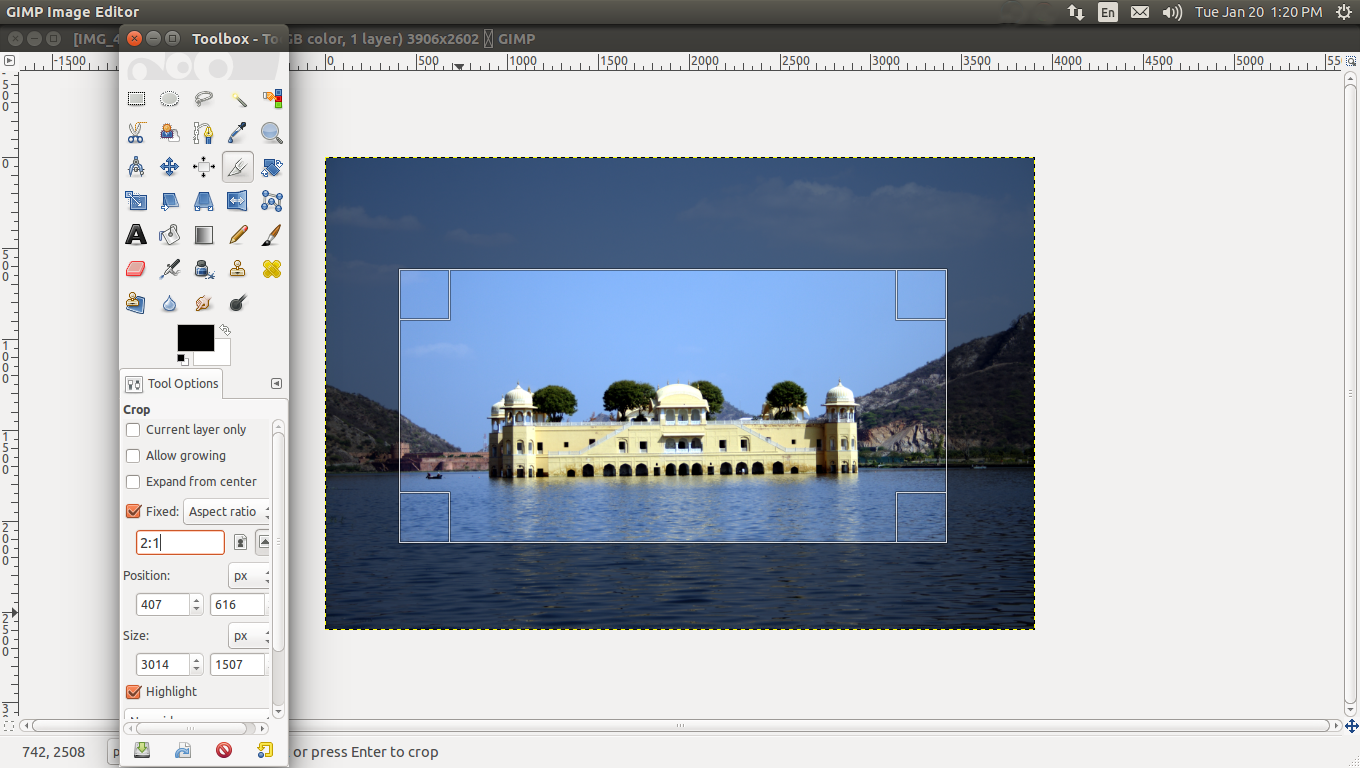how to change image aspect ration in gimp