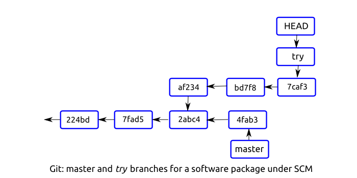Git: master and try branches for a software package under SCM