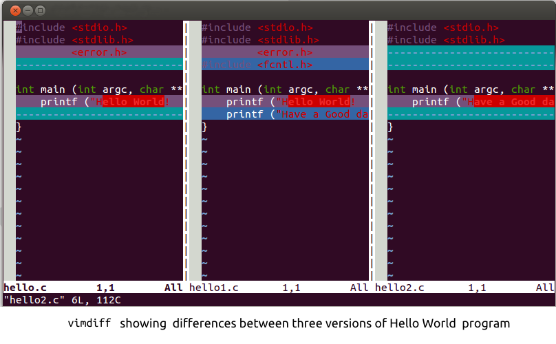 vimdiff showing three versions of Hello World program